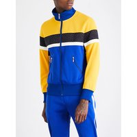 Stand-collar contrast-panel jersey jacket