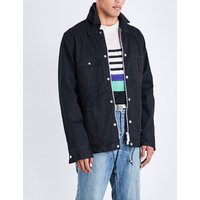 Velvet-trim embroidered denim jacket