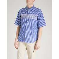 Striped embroidered regular-fit cotton shirt