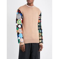 Crochet-sleeved wool jumper