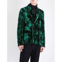 Double-breasted regular-fit crushed velvet jacket