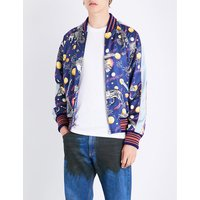 Space animal-print satin bomber jacket