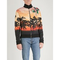 Palm-tree print cotton-jersey bomber jacket