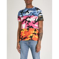 Striped camouflage-print cotton-jersey T-shirt