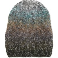 Ombré irregular cable knit wool beanie
