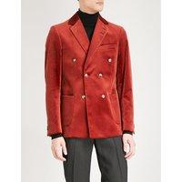 Irwin double-breasted regular-fit velvet jacket