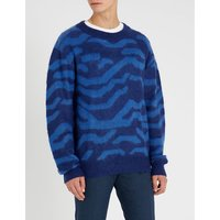 Graphic-print crewneck knitted jumper