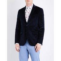 Floral-print velvet jacket