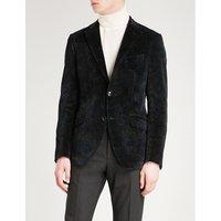 Paisley-print slim-fit velvet jacket
