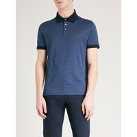 Geometric-print cotton polo shirt