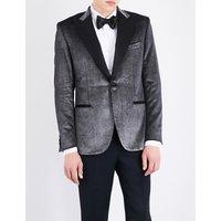 Brioni Regular-fit velvet jacket, Mens, Size: 40, Silver