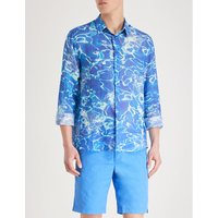 Vilebrequin Mens Blue Water Reflection Print Classic Ramie Shirt, Size: L