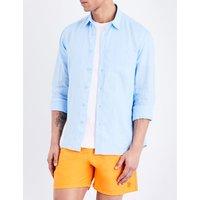 Vilebrequin Caroubis regular-fit linen shirt, Mens, Size: M, Sky blue