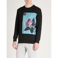 Square rose-print cotton-jersey sweatshirt