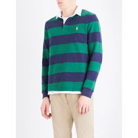 Striped custom slim-fit cotton-jersey polo shirt