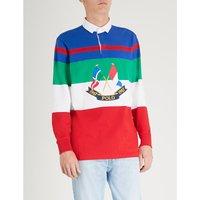 Colourblocked cotton polo shirt