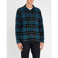 Checked regular-fit wool-blend shirt