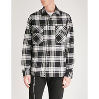 Check Shirt-print brushed cotton-blend shirt