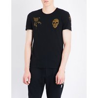 Skull and floral-print cotton-jersey T-shirt