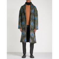 Peacock mohair-blend coat