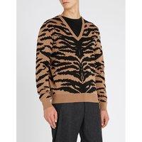 Zebra-print waffle-knit wool jumper