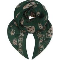 Alexander Mcqueen Skull print silk scarf, Women's, Green pink