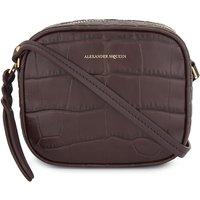 Crocodile-embossed leather camera bag