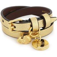 Skull double-wrap metallic leather bracelet