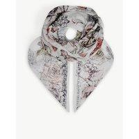 Crawling Rose silk scarf