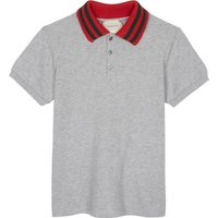 Gucci Web stripe cotton polo 4-12 years, Size: 10 years, Grey