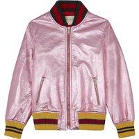 Metalic leather bomber jacket 8-12 years