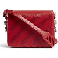 Diagonal stripe leather shoulder bag