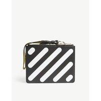 Diagonal-stripe leather pouch