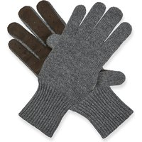 Knitted cashmere and suede gloves