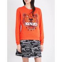 Kenzo Tiger cotton-jersey sweatshirt, Women's, Size: XS, Lght brush mollen- orng