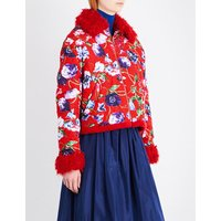 Faux shearling-trim floral-print quilted jacket