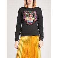 Tiger-embroidered stretch-cotton sweatshirt