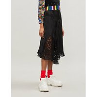 Floral lace-panel satin skirt