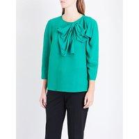 Oversized-bow crepe blouse