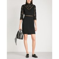 High neck floral-lace and crepe mini dress