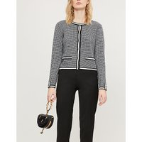 Maxypink houndstooth-patterned knitted cardigan