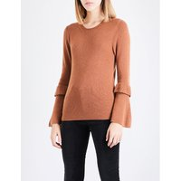 Flared-sleeve wool and cashmere-blend jumper
