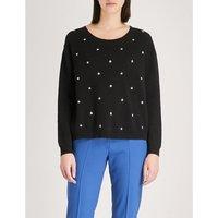 Star-detail cotton-blend jumper