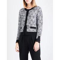 Contrast-trim tweed cardigan