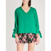 Bertilla tied-cuff crepe top