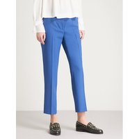 Tapered cropped high-rise wool-blend trousers
