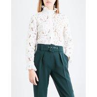 Ruffled-collar lace shirt