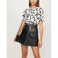 Animal-print crepe top