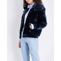 Hooded velvet puffer jacket