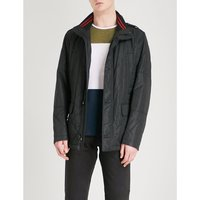 Funnel-collar quilted cotton-blend coat